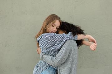 Affectionate best friends together