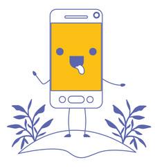 smartphone in field kawaii character vector illustration design