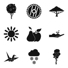 Greening of the planet icons set, simple style