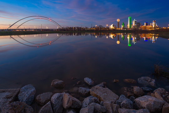 Dallas Skyline Reflection on Trinity River During Sunset, Dallas, Texas.
