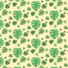 Seamless pattern of leaves on white background