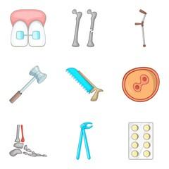 Surgery icons set, cartoon style