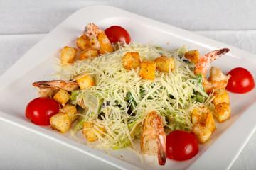 Caesar salad with prawn