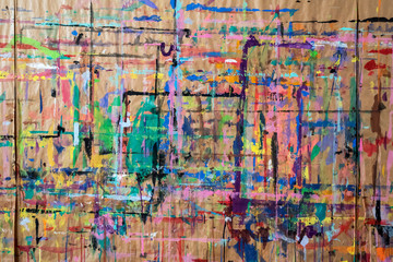 Abstract watercolor painting pattern texture on a wall in preschool