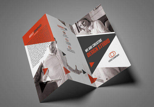 Trifold Brochure Layout with Triangular Elements 1