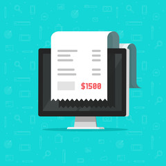 Computer and receipt vector illustration, flat cartoon big bill tax or paper invoice on desktop pc concept, financial accounting or electronic payment, digital receipt, internet order invoicing
