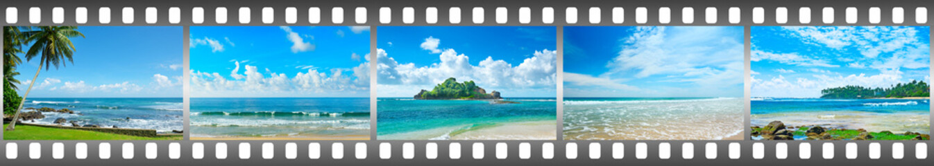 Tropical landscapes of sea in frame in form film.
