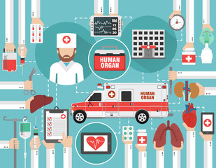 Medical infographic concept flat with car human organ ,hospital and doctor isolated vector illustration