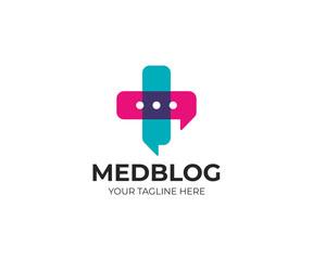 Medical cross and chat symbol logo template. Pharmacy vector design. Hospital consultation illustration