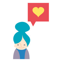 colorful woman with heart inside chat bubble message