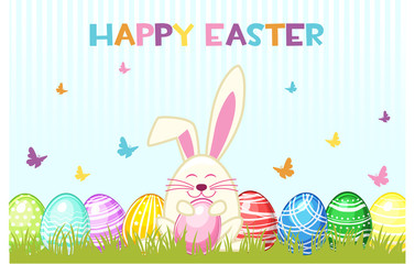 Happy Easter Day. Vector Eggs and rabbit on the grass, greeting card