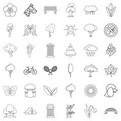 Town green park icons set, outline style