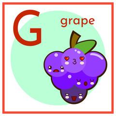 Cartoon Fruit Alphabet Flashcard. G is for Grape Flat vector illustration EPS
