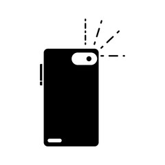 silhouette smartphone in rear position to flash picture
