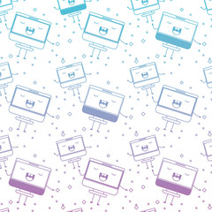 computer display kawaii character pattern background vector illustration design