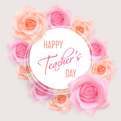 Teachers day card with roses