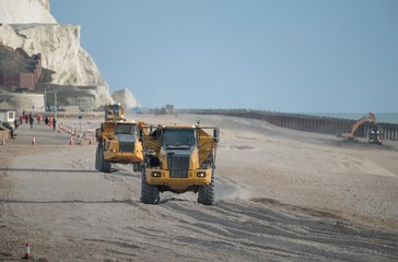 Construction Site - Heavy Plant - Construction Machinery - Sea Defence works