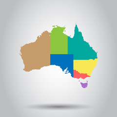 Australia color map with regions icon. Business cartography concept Australia pictogram. Vector illustration.