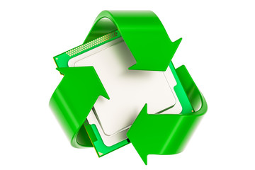 Green recycle symbol with CPU computer processor unit, 3D rendering