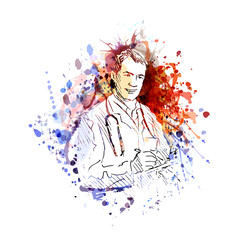 vector color illustration of a doctor