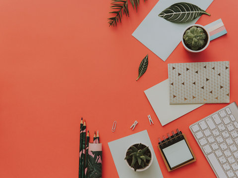 Flat lay Set of office supplies. Top view on various stationery on desk. Creative workspace background