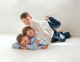 Boys piled up