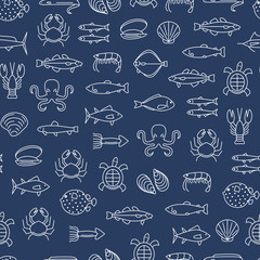 Sea Food Thin Line Seamless Pattern Background. Vector