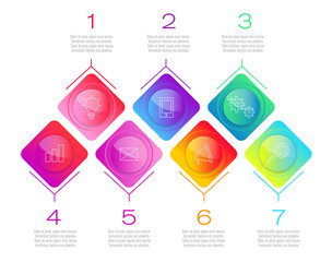 Process chart. Abstract elements of graph, diagram with 7 steps, options, parts or processes. Vector business template for presentation. Creative concept for infographic