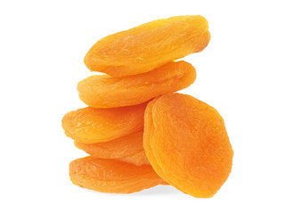 Stack of dried apricots on a white background