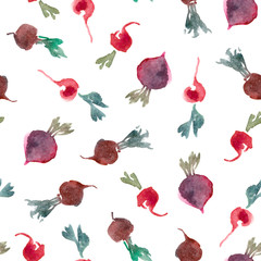 Watercolor illustration. Carrot and beet isolated on white background. Seamless pattern of vegetables