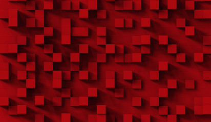 Red cubes abstract background pattern.