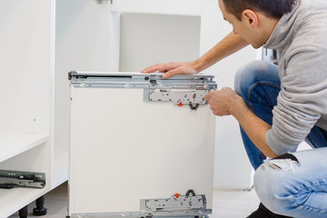 Adjustment of the kitchen box kitchen installation the drawer is designed for storing kitchen
