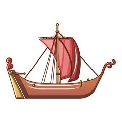 Pirate ship icon, cartoon style