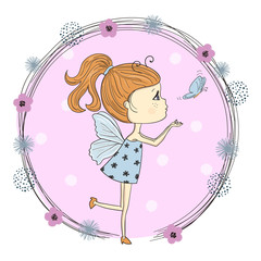 Cute little cartoon girl in a butterfly costume. Suitable for t-shirt print, poster, greeting card. Vector illustration.