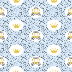 Seamless vector princess pattern with golden carriages and crowns.