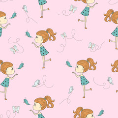 Seamless pattern with cute cartoon little girl and butterflies.