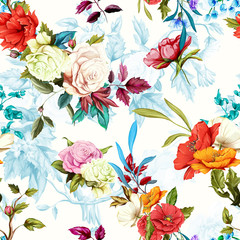 Poppy, wild rose, cornflowers, lily of the valley with leaves on pastel blue white. Seamless background pattern. Watercolor, hand drawn. Vector stock.