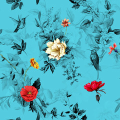 Flowers. Poppy, wild roses, rose, chamomile(camomile), cornflower with lily of the valley and two hummingbird on blue background. Seamless pattern. Hand drawn. Vector - stock