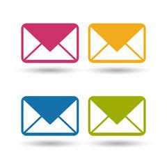 Briefumschlag Symbole - Farbige Vektor Illustration - Freigestellt auf weißem Hintergrund