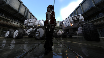 Space Base Heavy Equipment Science Fiction  3D Rendering