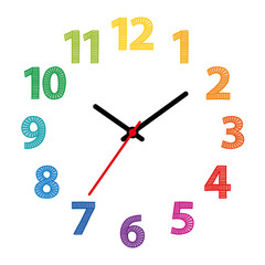 Rainbow colored dial. Clock face with colorful hand-drawn numerals over white. Part of an analog clock or watch. Displays the time through the use of a dial and moving hands. Illustration. Vector.