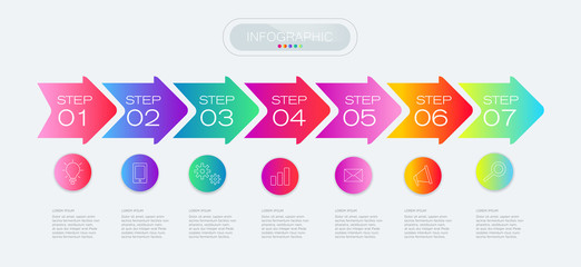 Process chart. Abstract elements of graph, diagram with 7 steps, options, parts or processes. Vector business template for presentation. Creative concept for infographic.