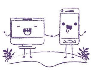 smartphone and monitor computer kawaii characters vector illustration design