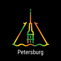 St. Petersburg, Russia Vector Line Icon