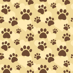Seamless pattern with paw prints