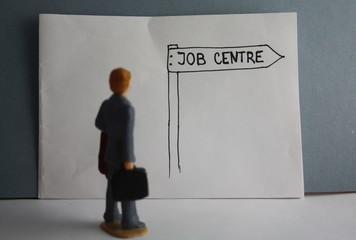 Job centre handdrawn guidance arrow, visit a job center, unemployed miniature man.