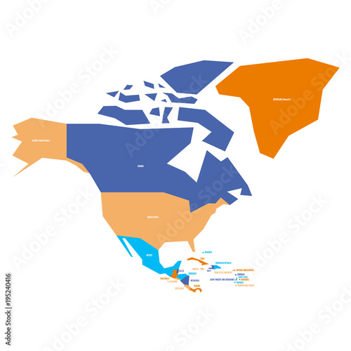 Very simplified infographical political map of north america very simplified infographical political map of north america simple geometric vector illustration sciox Gallery