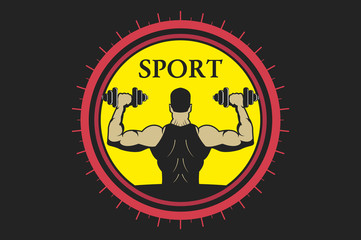 sports logo, man raises dumbbells.