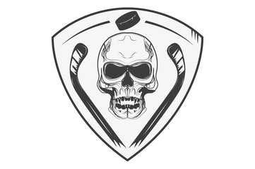 Hockey logo, skull with hockey sticks on the shield. Icon, logo.