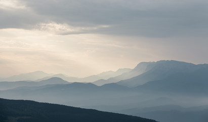 Silhouette Mountains at sunrise in the Pyrenees